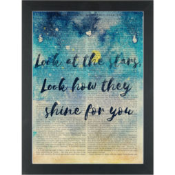 Cold play lyrics Look at the stars Dictionary Art Print