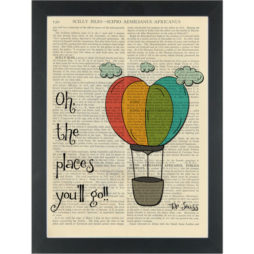 Dr Seuss quote Oh the places youll go Dictionary Art Print