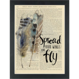 Feathers Inspire Spread your wings and fly Dictionary Art Print