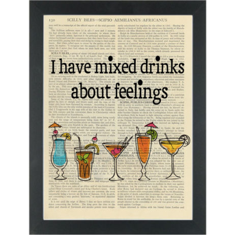 Funny Alcohol Mixed Drinks quote Dictionary Art Print