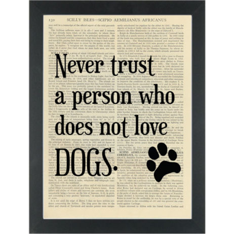 Funny Dog quote Dictionary Art Print