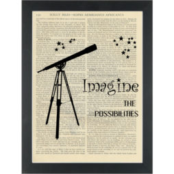 Inspirational Imagine Telescope Dictionary Art Print