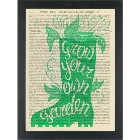Inspirational gardening Grow your own food Dictionary Art Print