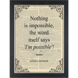 Inspirational quote Hepburn I am possible Dictionary Art Print
