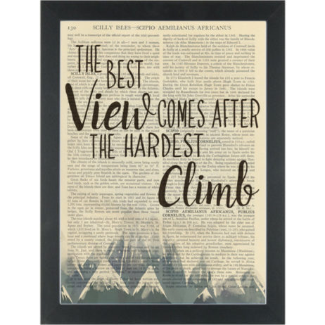 Inspirational quote Mountain Best View Dictionary Art Print