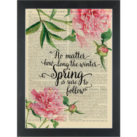 Inspirational quote floral Spring is sure to follow Dictionary Art Print
