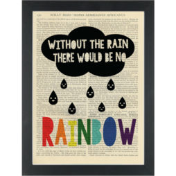 Inspire rainbow quote with cloud Dictionary Art Print