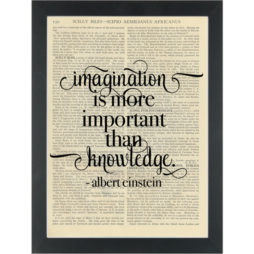 Literary quote Albert Einstein Imagination Dictionary Art Print