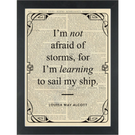 Literary quote Alcott Learning to sail my ship Dictionary Art Print