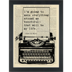 Literary quote Elsie De Wolfe Everything beautiful Dictionary Art Print