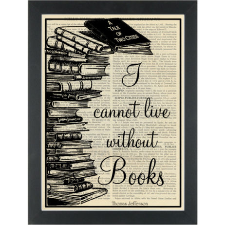 Literary quote Jefferson Can not live without books Dictionary Art Print