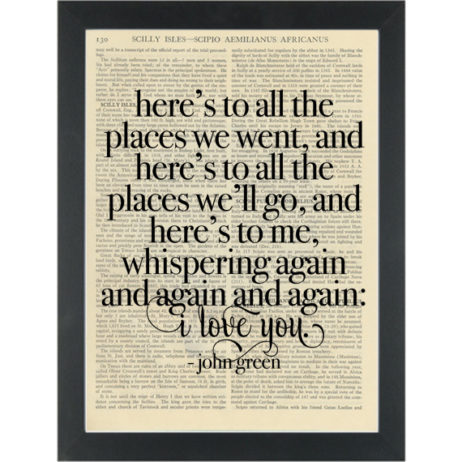 Literary quote John Green I love you again and again Dictionary Art Print