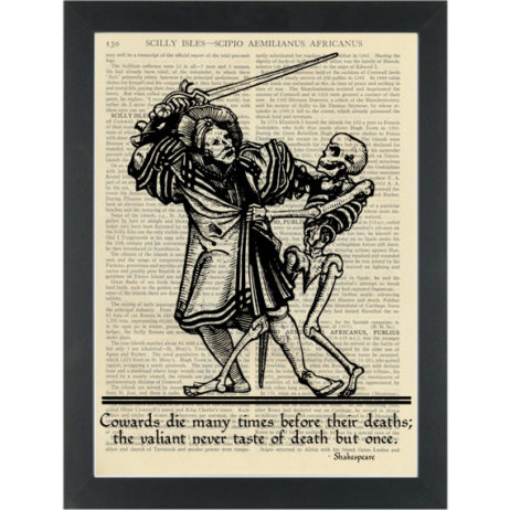 Literary quote Shakespeare Death but once Dictionary Art Print