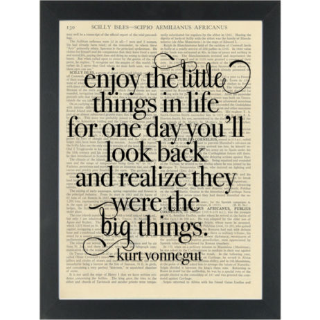 Literary quote Vonnegut Enjoy the little things Dictionary Art Print