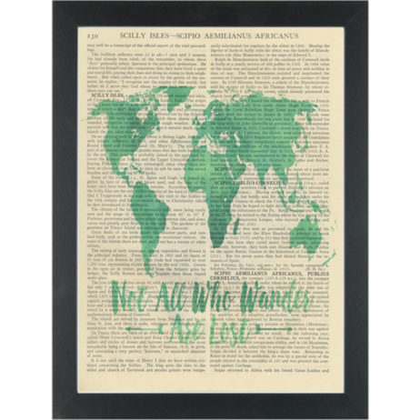 Lord of the Rings, Not Lost quote with world map Dictionary Art Print