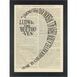 Music Beethoven Higher revelation bass clef Dictionary Art Print