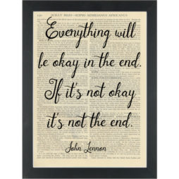 Music John Lennon lyrics Everything will be ok Dictionary Art Print