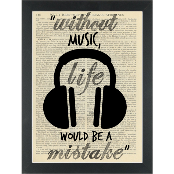 Music Headphones Quote Without Music Dictionary Art Print Page Turner