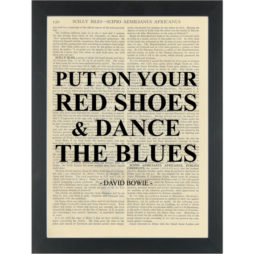 Music lyrics David Bowie Red Shoes Dance Blues Dictionary Art Print