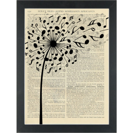 Music notes in Dandelion Dictionary Art Print