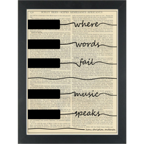 Music piano Anderson quote Music Speaks Dictionary Art Print