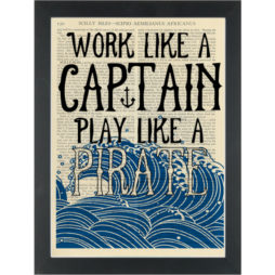Pirate quote kids room Work like a captain Dictionary Art Print