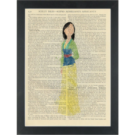Princess Mulan watercolor girls bedroom Dictionary Art Print