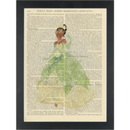 Princess Tianna watercolor girls bedroom Dictionary Art Print