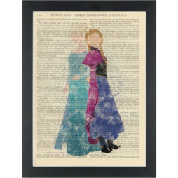 Princesses Frozen watercolor girls bedroom Dictionary Art Print