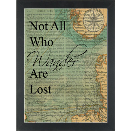 Travel quote on vintage map Not all who wander Dictionary Art Print