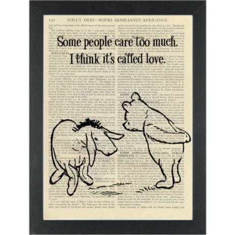 Winnie pooh eyore quote Care too much Dictionary Art Print