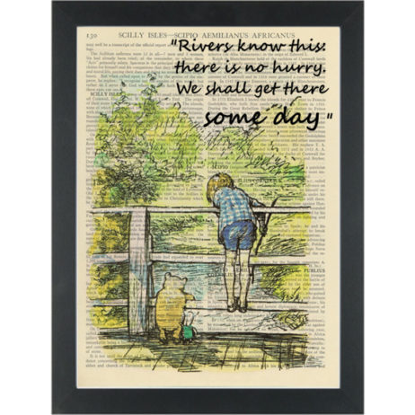 Winnie pooh playing pooh sticks quote Rivers know this Dictionary Art Print