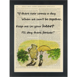 Winnie pooh sunset, quote Stay in your heart forever Dictionary Art Print