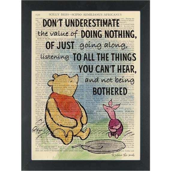 Winnie The Pooh Quote Art: Winnie The Pooh The Art Of Doing Nothing Quote Dictionary